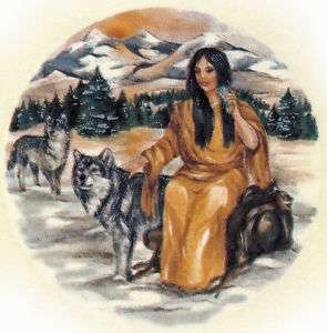 Ceramic Decals Native American Indian Maiden/Wolf B