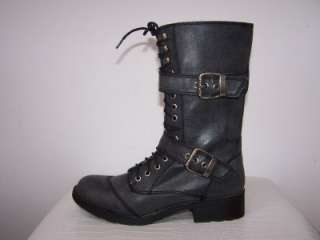 New G By GUESS Black Grey BETTER Military Combat Ankle Booties Boots