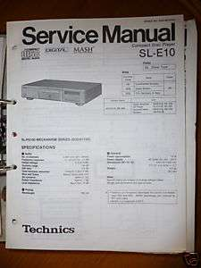 Service Manual Technics SL E10 CD Player,ORIGINAL