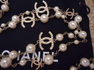 AUTHENTIC* Chanel GOLD faux PEARL 47 NECKLACE/BELT WITH 8 GOLD CC