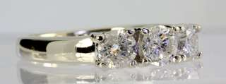 ROUND BRILLIANT DIAMOND 3 STONE ENGAGEMENT RING 14K WHITE GOLD