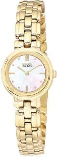 Citizen Eco Drive Silhouette Gold Tone Womens Watch EW9132 57D