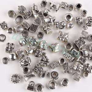 70X Wholesale Mixed Tibetan Silver European Beads Charm