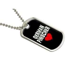 German Pinscher Love   Black   Military Dog Tag Luggage Keychain