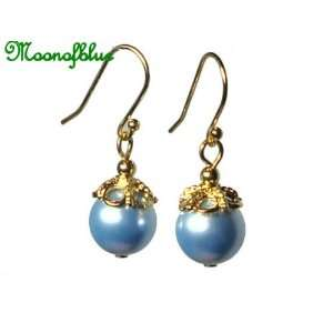 Swarovski Blue Pearl Earrings ~ 14K Gold Plated #E14KGP15B