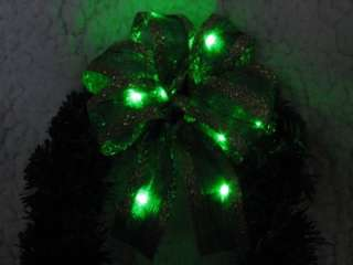 Red/Green/Gold XMAS BOW Ribbon Tree Gift DECORATION Battery Operated