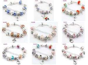 lampwork ceramic silver European beaded charms snake love bracelet