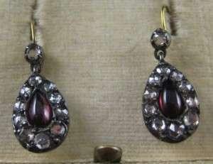 Antique Georgian Garnet & Diamond Pendant Earrings