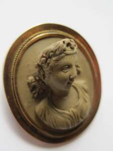 Antique Victorian Gold Filled LAVA Cameo Brooch BACCHANTE very high
