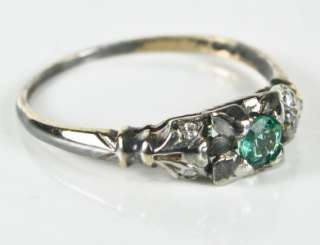 14k Hand Carved Gold 1/4ct Genuine Emerald & F VS Old Cut Diamond Ring