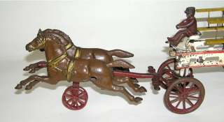 Cast Iron Horse Drawn Fire Ladder Wagon NO RESERVE (DAKOTApaul)