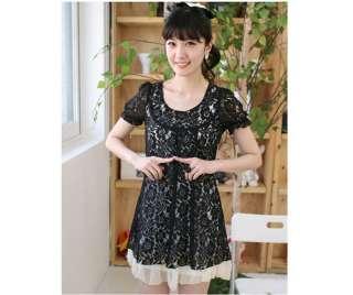 Plus size Women Black Short sleeve Lace + Chiffon dress