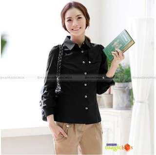 Women Fashion Formal Long Sleeve Cotton Shirt Blouse Top Black White