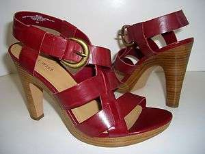 NINE WEST VELASO NEW Red Womens Wedges Sandals Heels Shoes US Size 9
