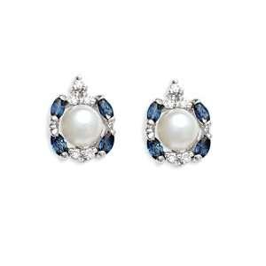 1.11 Ct Pearl Sapphire Diamond 14K White Gold Earrings Jewelry