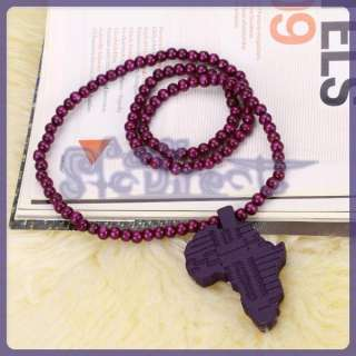 Good Quality Wood African map Pendant with 15 Wooden Beads Chain