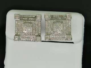 MENS WHITE GOLD FINISH 3D BLOCK DIAMOND EARRINGS STUDS