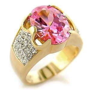 Rings   Gold Tone Oval Cut Rose Pink Solitaire & White Pave CZ Ring
