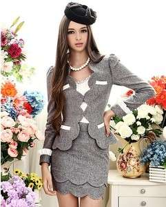 Luxury Graceful Petal Trim Suits Deep Grey Outerwear Hot Jacket New