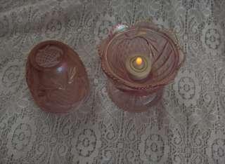 Vintage Iridescent Pink Glass Fairy Light Battery Flame Heart