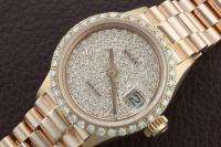 LADIES 18K ROSE PINK GOLD ROLEX PRESIDENT PAVE DIAMOND & BEZEL DATE