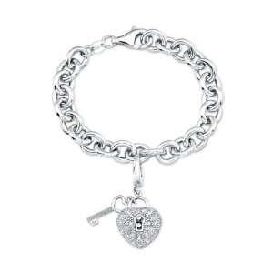 Heart Lock and Key Charm Bracelet with Diamond Accents, 7 Jewelry