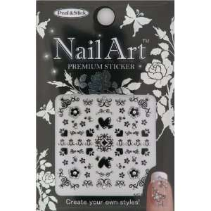 Nail Art Sticker Floral Design NSA 06 Black Beauty