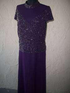 NWOT J Kara BEADED Dress Plum/Wine Size 12