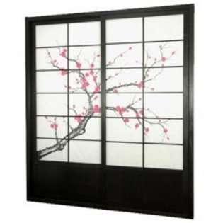 Oriental Furniture 7 foot Tall Cherry Blossom Shoji Sliding Door Kit