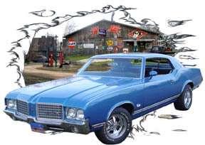 1972 Blue Oldsmobile CutLass Hot Rod Garage T Shirt 72