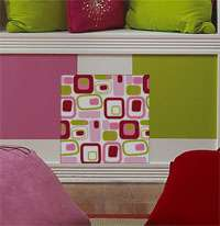 nEw BiG RETRO Girls WALL STICKERS Accents SQUARES PINK