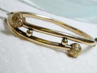 Antique Victorian Gold Filled Bypass Bangle Bracelet with Safety Chain