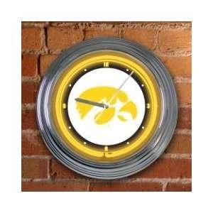 IOWA HAWKEYES Team Logo 15 NEON WALL CLOCK: Sports