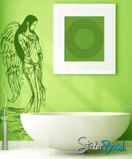 Vinyl Wall Decal Sticker Female Angel Wings #774B 7ft