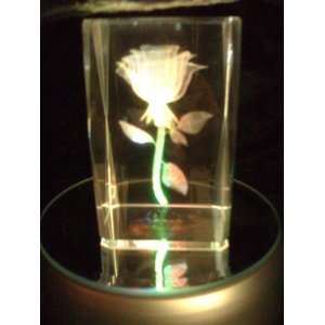 Laser Etched Crystal Cube Rose
