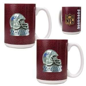 New England Patriots NFL 2pc Gameball Ceramic Mug Set   Helmet logo