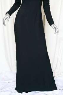 ISAAC MIZRAHI Black Crepe Long Sleeve Scoop Neck Gown Formal Dress