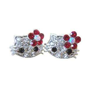 Extra Small Kitty Stud Earrings with Red Flower Bow