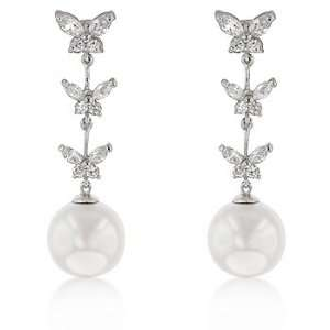 PEARL JEWELRY   White Gold Rhodium Pear Butterfly Dangles