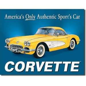 Chevrolet Chevy Corvette 1958 Sports Car Retro Vintage Tin