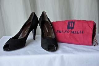 BRUNO MAGLI Black Suede High Heel Pump Shoe 10 40 NEW