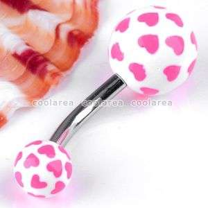14G Pink Heart UV Stainless Steel Ball Belly Navel Ring Body Piercing