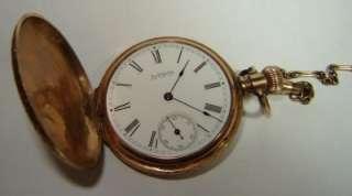 WALTHAM WATCH pocket Hunting 14K gold inlay~Diamond 1800s |