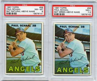 1967 Topps Paul Schaal #58 PSA 8 LOT (2) Both Variations Green