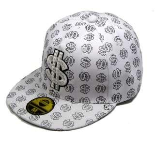 Kappe Cap Hip Hop Dollar Hip Hop Cap Mütze Weiß 21041