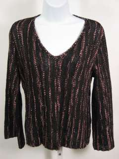 BALL OF COTTON Multi Black V Neck Sweater Top Shirt M