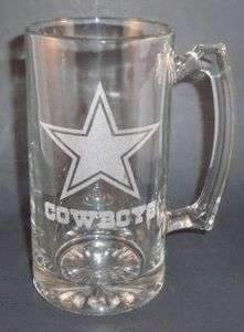 Personalized NFL Dallas Cowboys Laser Etched Glass Beer Mug 25oz