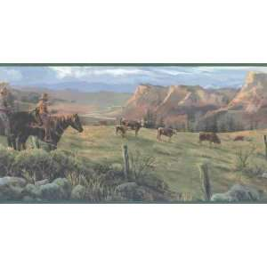 Cattle Roundup Wallpaper Border Home Improvement