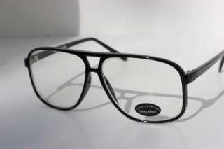 Large Square BLACK SUPER DORK Clear Lens Glasses 182 DJ