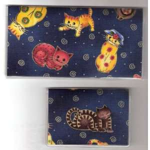 Checkbook Cover Debit Set Quilted Kitty Cat